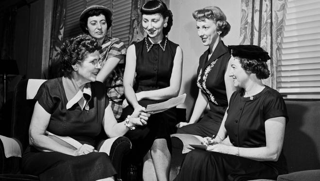 Members of the Missouri-Ann Chapter of the American Business Women's Association, ca. 1953. From left: Myrtle Bonidin, Esther Hulan, Betty Ratliff, Dorothy Cardwell, and Mrs. Alva Stafford.