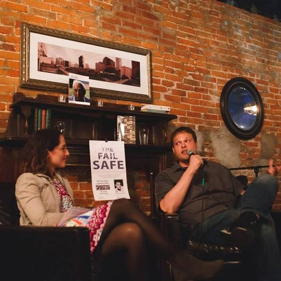 Rachel Yoder, Garth Greenwell and Andrea Wilson on April 28, 2016, in Iowa City. The three are involved in the launch of The Fail Safe podcast.