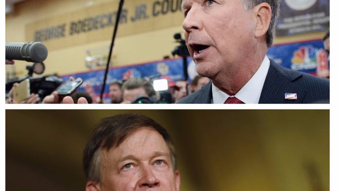 Ohio governor John Kasich (R), top, and Colorado governor John Hickenlooper (D), below.
