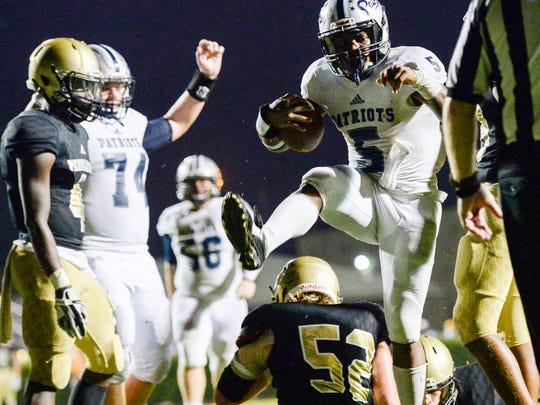 Powdersville senior EJ Humphrey scores a touchdown during the fourth quarter at Pendleton High School in Pendleton on Friday.