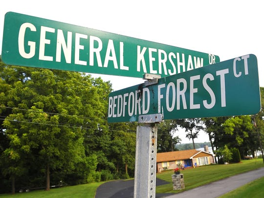 General Kershaw Drive and Bedford Forest Court can be found in an east Davidson County neighborhood near Rebel Drive and Confederate Circle.
