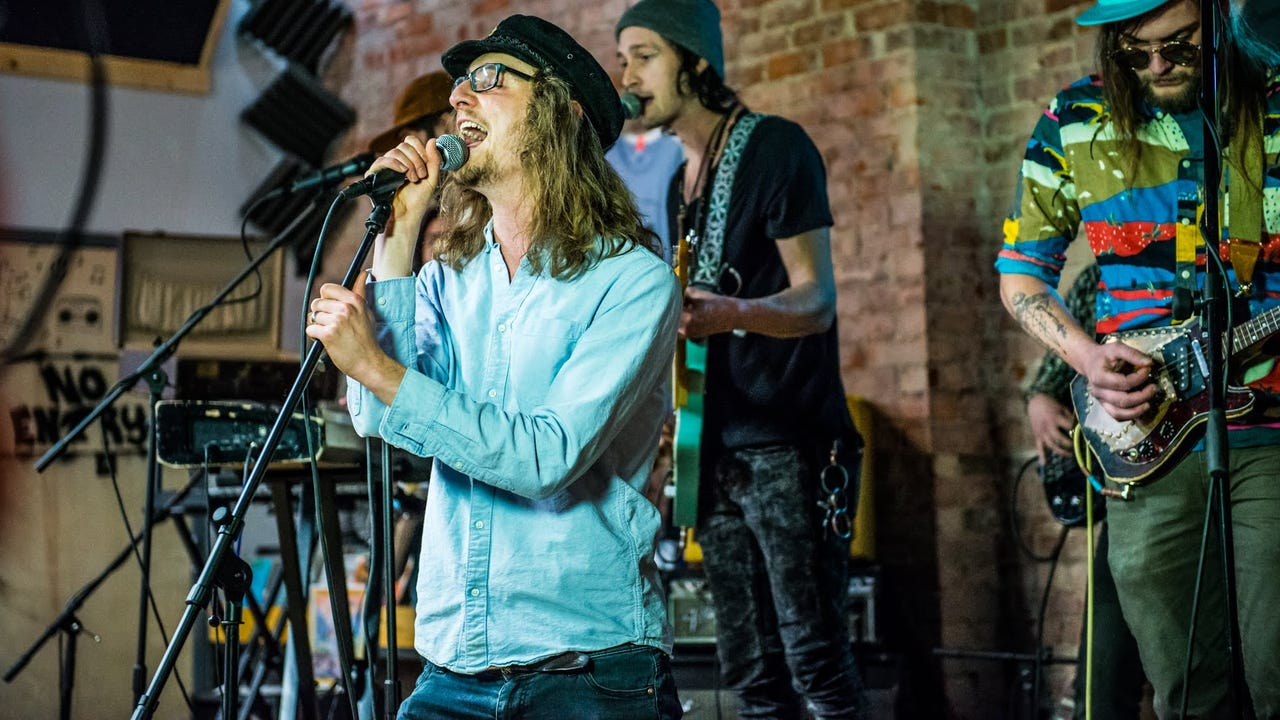 """Cyrus Youngman & the Kingfishers perform """"Trip to Try"""" during the Jan. 23, 2018, episode of """"Dogfish Head Brewery present IndyStar Sessions at Square Cat Vinyl."""""""