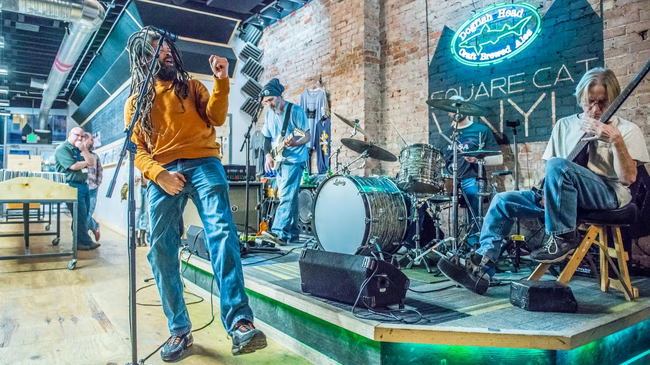"""Birdmen of Alcatraz perform """"Flipmode"""" as part of the Feb. 1, 2018, episode of """"Dogfish Head Brewery presents IndyStar Sessions at Square Cat Vinyl."""""""