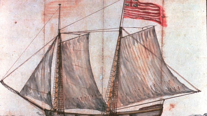 """This watercolor sketch marked """"Capt. Wynkoop's Schooner"""" from the papers of Gen. Philip Schuyler, shows the Royal Savagewith her flag proudly displayed."""