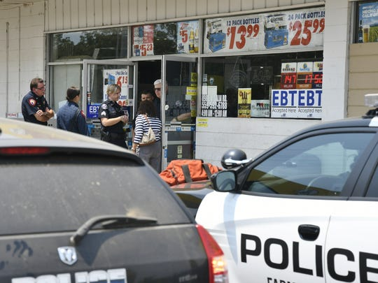 Police were called just after 1 p.m. to Aztecs Food and Liquor at Dwight Avenue and Visalia Road. Witnesses told dispatchers someone had been shot.