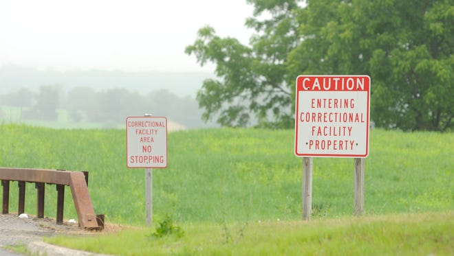 Two signs at the entrance to the Wallkill and Shawangunk Correctional Facilities located off of Route 208 in Wallkill.