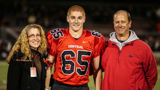 Timothy Piazza with his parents, Evelyn and James. Timothy Piazza died in February.