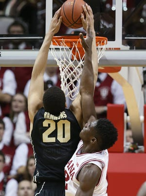 Indiana Hoosiers forward Hanner Mosquera-Perea can't stop Purdue Boilermakers center A.J. Hammons from dunking in the second half. Indiana hosted Purdue at Assembly Hall on Thursday, February 19, 2015.