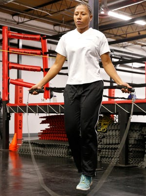 Calista Silgado, #6 ranked world contender from Columbia goes through a light workout Tuesday afternoon at Wolves Den Gym, during last minute preparations for her title fight scheduled for Friday night against El Paso's Jennifer Han. Han who is currently the IBF World Featherweight Champion will defend her title for the first time at Southwest University Park at 7 p.m.