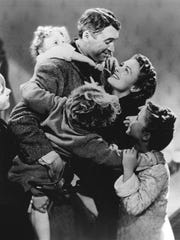 "Jimmy Stewwart and Donna Reed star in the classic, ""It's s a Wonderful Life."""