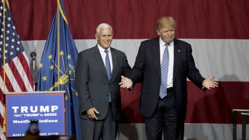 Donald Trump greets Indiana Gov. Mike Pence in Westfield, Ind., on July 12, 2016.