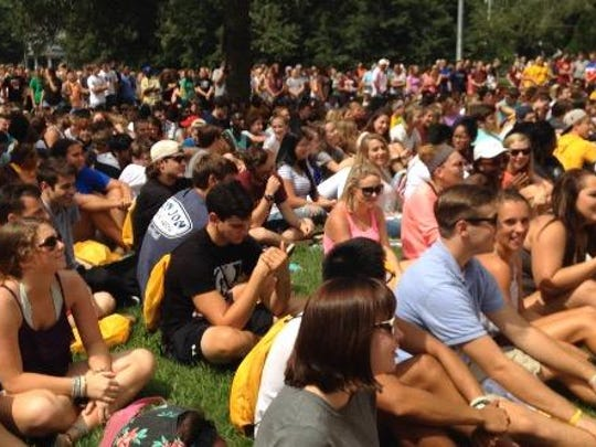 A 2015 photo shows members of the Class of 2019 gather on a lawn at Salisbury University for welcoming remarks by university officials during move-in day for freshmen and other new students.