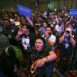 In a May 14 photo, supporters of Democratic presidential candidate Bernie Sanders react as U.S. Sen. Barbara Boxer, D-Calif., speaks during the Nevada State Democratic Party's 2016 State Convention at the Paris hotel-casino in Las Vegas. The Nevada Democratic Convention turned into an unruly and unpredictable event.