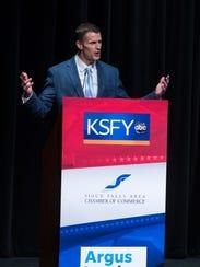 Mayoral candidate Paul TenHaken speaks during debate