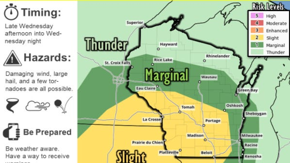 Possible severe storms Wednesday afternoon and night
