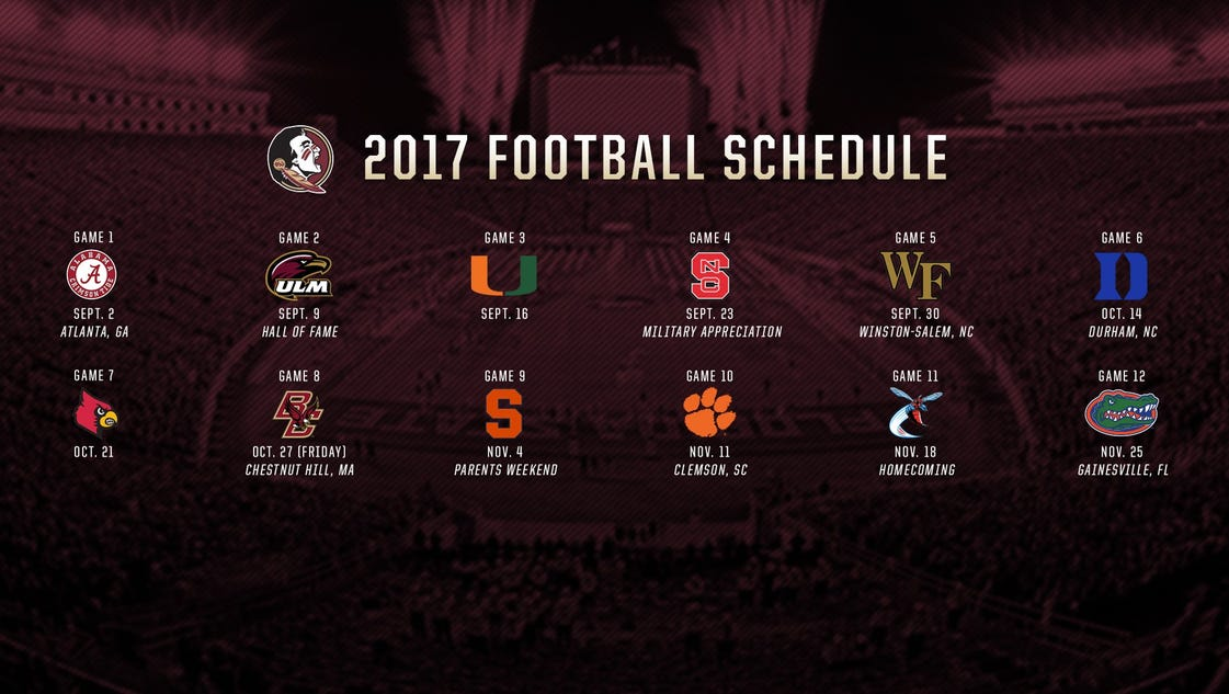 Florida State's 2017 football schedule is set
