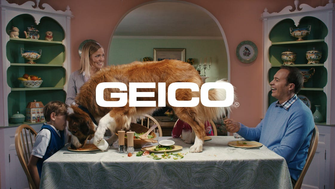 Geico dog disrupts awful video ads
