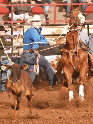 Erath County native Marty Yates is pictured in this file photo competing in his specialty, tie-down roping. He will be among the top competitors in the 51st annual Cowboy Capital of the World PRCA Rodeo, which continues through Sunday at Lone Star Arena in Stephenville. Yates broke the Lone Star Arena time record in tie-down when he won the Stephenville event in 2018.