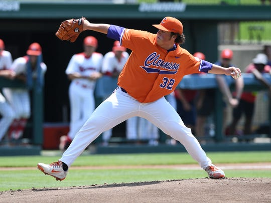 Clemson pitcher Jacob Hennessy (32) during the Tiger's