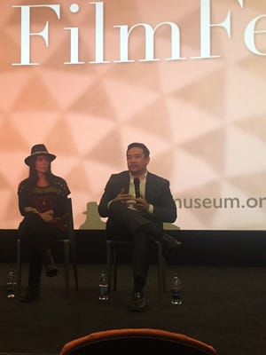Michelle Latimer and Keith Harper participate in a Q&A at the opening night of the Native Film Fest.