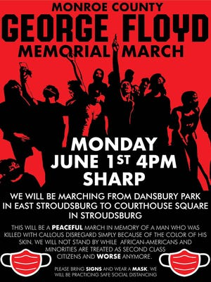 This poster had the details of a peaceful march in response to George Floyd's death planned for Monday afternoon.