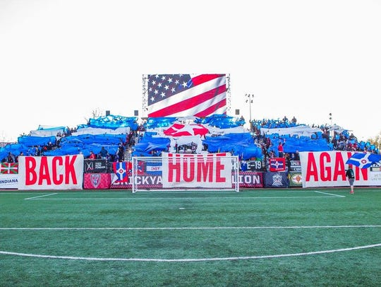 The BYB displays its tifo at last week's Eleven home