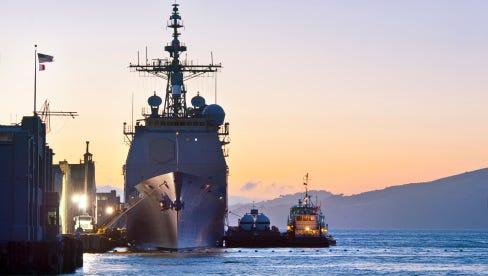 U.S. Navy Cruiser at Port in San Francisco