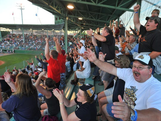 Fans cheer on the Wisconsin Rapids Rafters at Witter