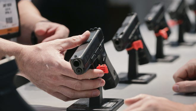 A Glock handgun on display at a recent show in Las Vegas.