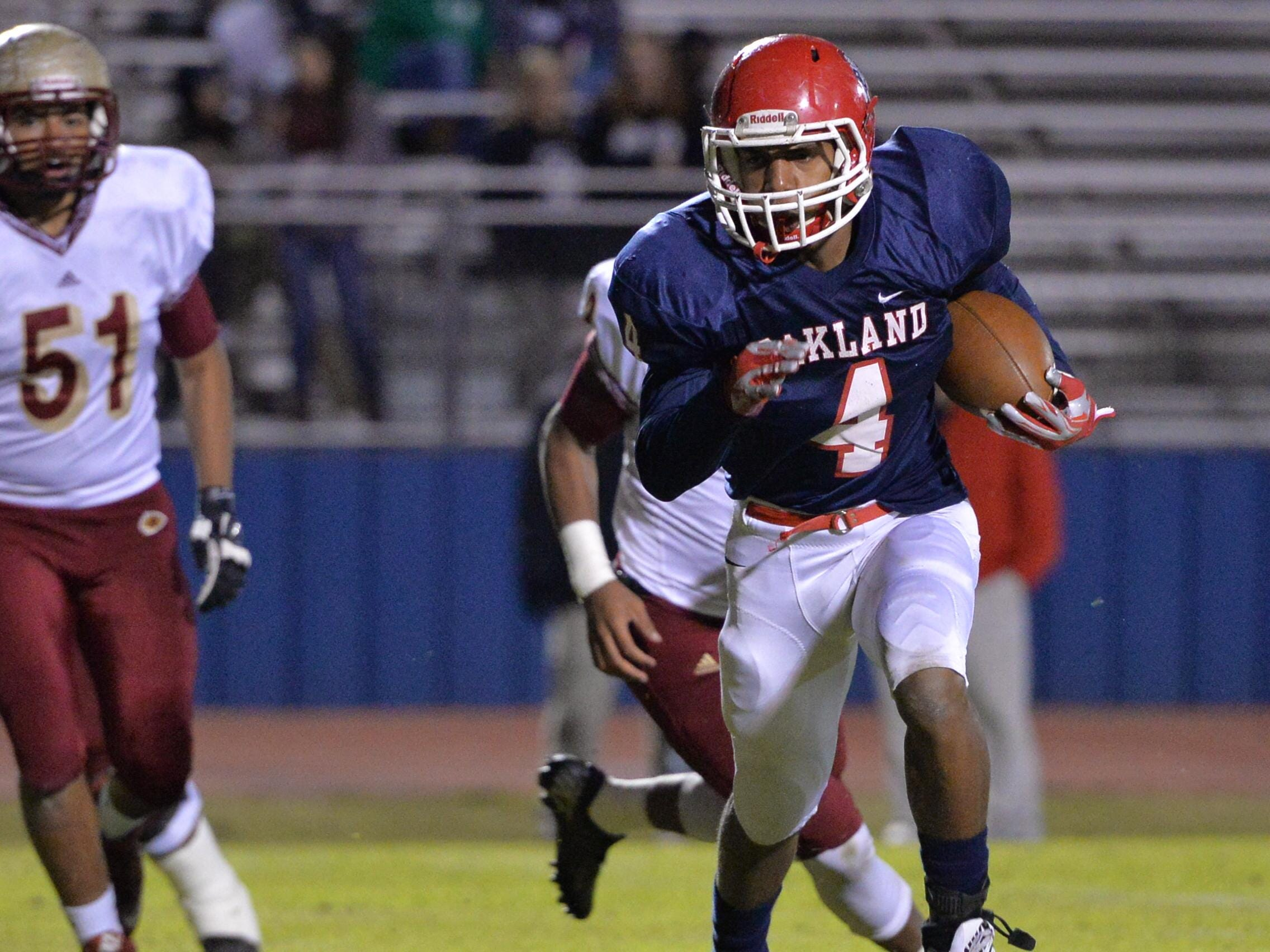 Oakland's Lazarius Patterson finished with 116 rushing yards in the Patriots' 54-7 win over Riverdale on Friday night.