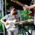 Fiancé frontman Andrew Fusca perform on the Forest Stage at the Firefly Music Festival Friday.