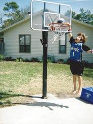 Duke guard Grayson Allen dunking on a shortened rim