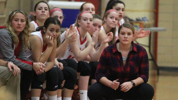 Tappan Zee girls basketball coaches and players watch on during a game with Pearl River at Tappan Zee High School on Jan. 11, 2018.