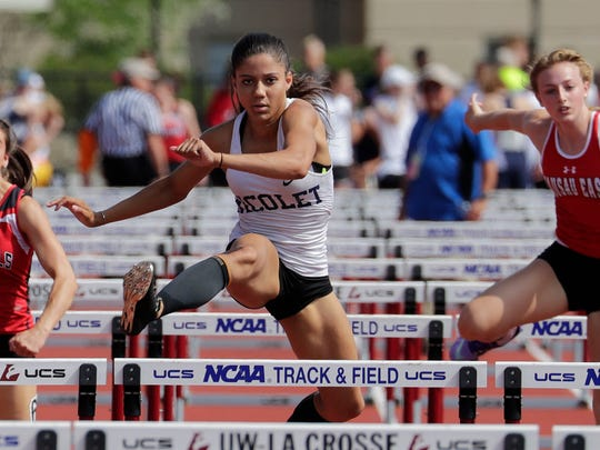 Destiny Huven of Nicolet repeated as the Division 1 champ in the 100-meter hurdles and was also part of the gold-medal relay 4x100 relay team.