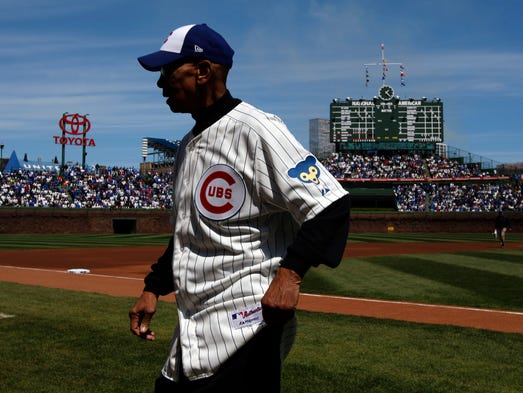 Banks walks off the field before a game between the cubs and arizona