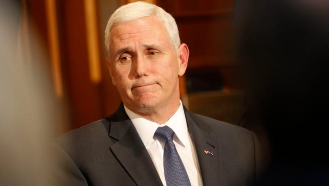 Indiana Gov. Mike Pence speaks March 2, 2016, at a news conference at the Statehouse in Indianapolis.