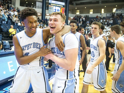 Mater Dei's Brandon Wilson and Kyle Cardaci celebrate