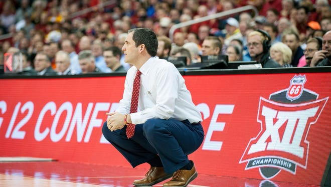 Iowa State head coach Steve Prohm looks on in the second half against the Texas Longhorns during the first round of the Big 12 Tournament at Sprint Center on March 7, 2018, in Kansas City, Missouri.