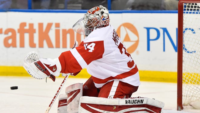 Detroit Red Wings goalie Petr Mrazek (34) makes a save against the St. Louis Blues during the second period at Scottrade Center.