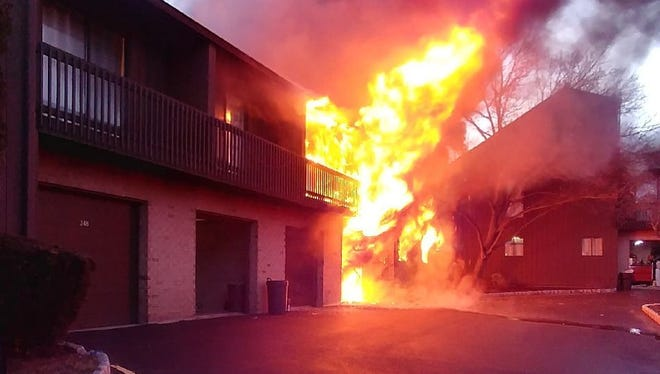 Fire at Kingsberry Drive in Franklin Township on Tuesday.