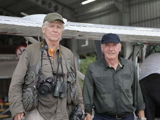 "A ""timeless hero of the silver screen,"" it is in fact Harrison Ford's heroic devotion to the planet that has earned him the 2018 Jane Alexander Global Wildlife Ambassador Award, created by the Indianapolis Prize. Here Ford is with 2018 Indy Prize winner Russ Mittermeier working out in the field."