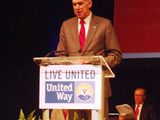 United Way Greater Cincinnati President and CEO Rob Reifsnyder helped start the Leaders and Legends award presentation. UWGC Board Chairman Jim Ellerhost can be seen sitting in the background.