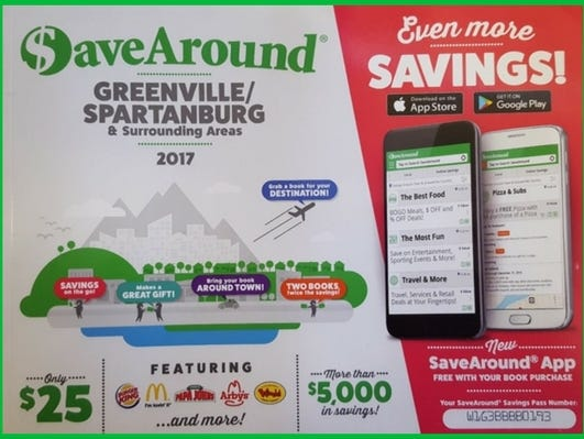 More than $5,000 in savings! Claim your FREE 2017 SaveAround Greenville book today!