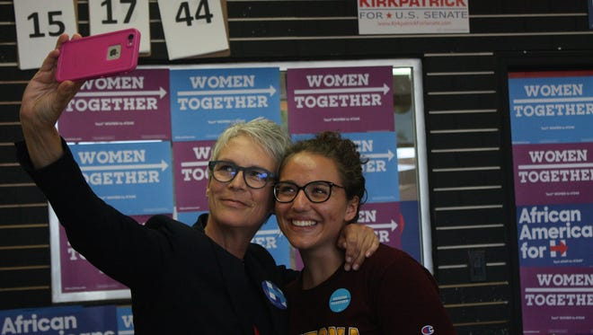 Actress and advocate Jamie Lee Curtis and volunteer Alexa Rodrigues take a selfie at the Democratic Party's Tempe Campus Office on Sept 24, 2016 in Tempe, Ariz.