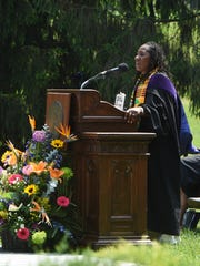 Sherrilyn Ifill, president and director-counsel of the NAACP Legal Defense and Educational Fund and an alumnus of Vassar College, addresses the graduating class at the 2016 commencement ceremony.