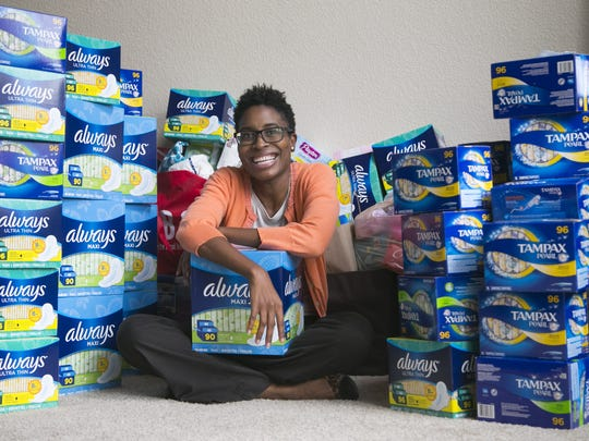 Demetra Presley works to get feminine products to low-income and homeless girls so they don't have to feel awkward or even skip school when they get their periods.