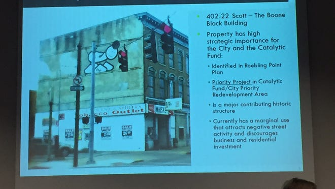 The building that will be rehabbed into townhomes here is shown during a presentation Tuesday to the Covington City Commission. Visible is the mural painted by London artists several years ago above Dick's Wine and Spirits,