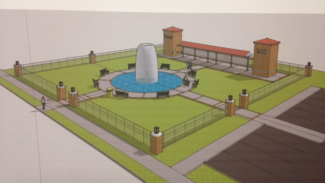 Artist's rendering of the park that Jackson Mayor Jerry Gist said will replace the former Bemis cotton mill.