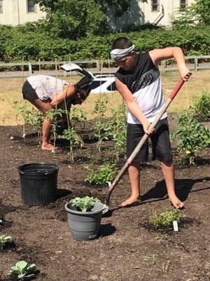 Nolan Murray, front, and Amy Leone work in the new Garden of Hope in Milford.