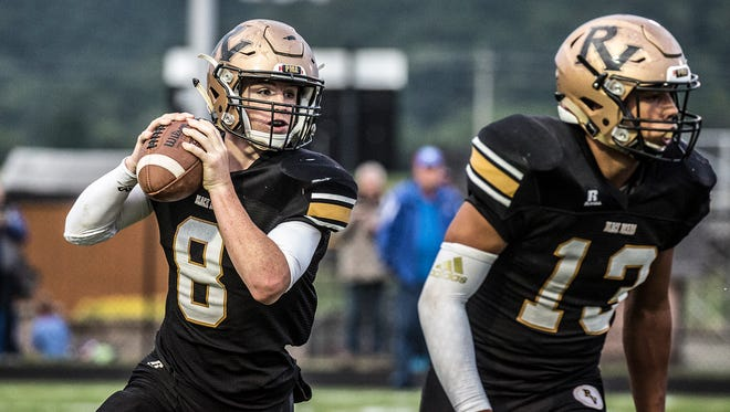 River View's Gannon Unger looks down the field against Garaway earlier this season. The Black Bears aim for their first win of the season, as they host Meadowbrook on Friday.